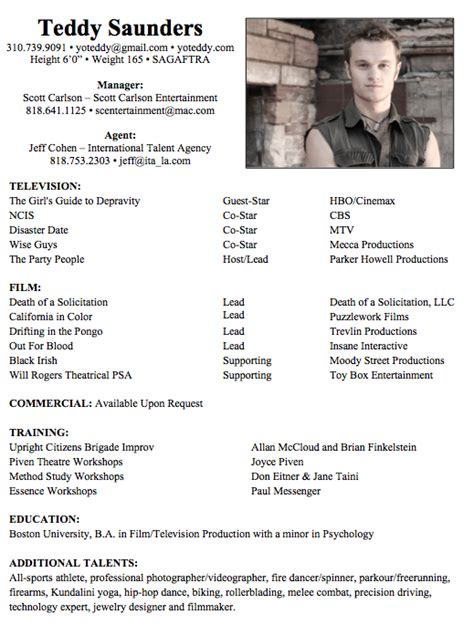 Actor Resume Template by 8 Acting Resume Sles Resumes In 2018