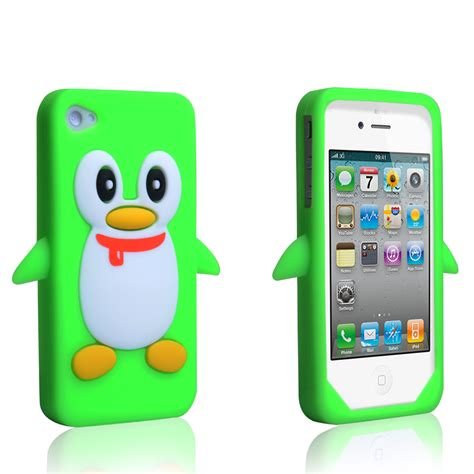 Rubber Iphone 4 Iphone 4s iphone 4 4s silicone penguin green mobile madh