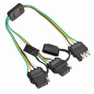 Pairs Trailer Wiring Harness Extension 4 Pin Plug Flat