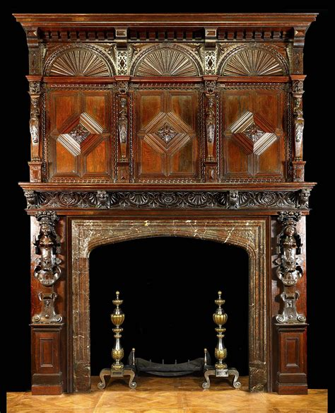 jacobean style carved oak antique fireplace and antique carved wood fireplace mantle and