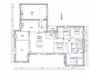 plan maison plain pied 120m2 4 chambres newsindoco With beautiful plan de maison de 100m2 2 plan maison en t plain pied madame ki