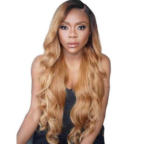 Ombre 1b 27 Long Honey Blonde Loose Wave Human Hair Wigs