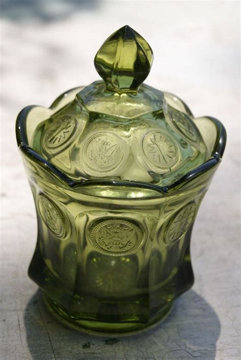 olive green coin glass pattern number  candy dish  cover  fostoria green candy