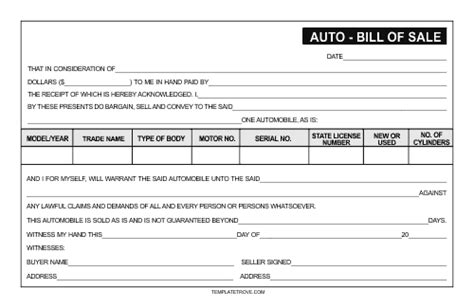 Printable Car Bill of Sale Template
