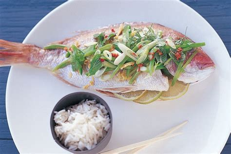baked snapper baked snapper with snow pea salad and lime dressing