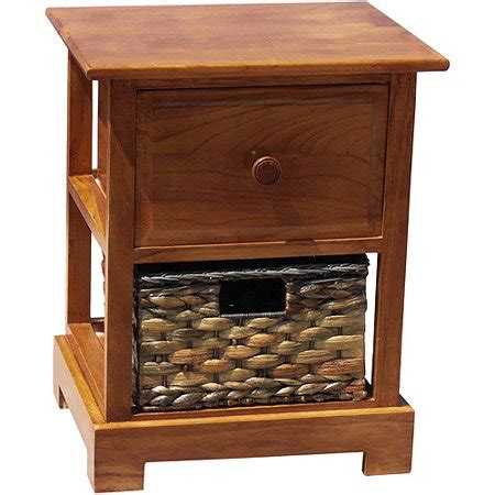 Nightstand With Baskets by Nightstand With Hyacinth Basket Oak Walmart