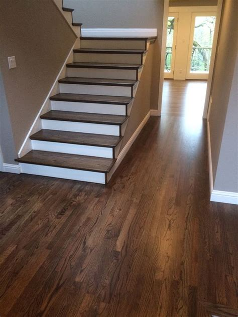 hardwood floors on stairs refinished hardwood stairs and floor dustless refinishing of wood floors pinterest colors