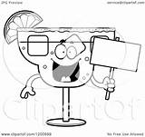 Margarita Holding Clipart Cartoon Happy Vector Mascot Sign Royalty Thoman Cory Template sketch template