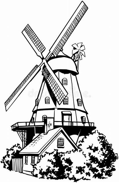 Windmill Dutch Clipart Cartoon Vector Line Illustration