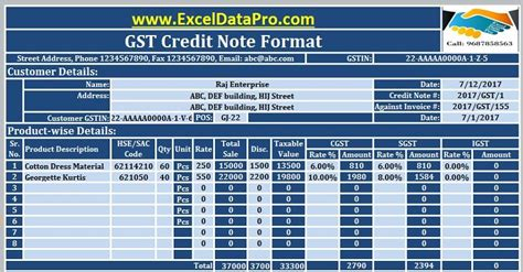 gst credit note format  excel issued