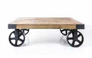 table basse industrielle sur roues industriel vieux bois With superior meubles de rangement salon 5 decoration industrielle ma maison est magnifique