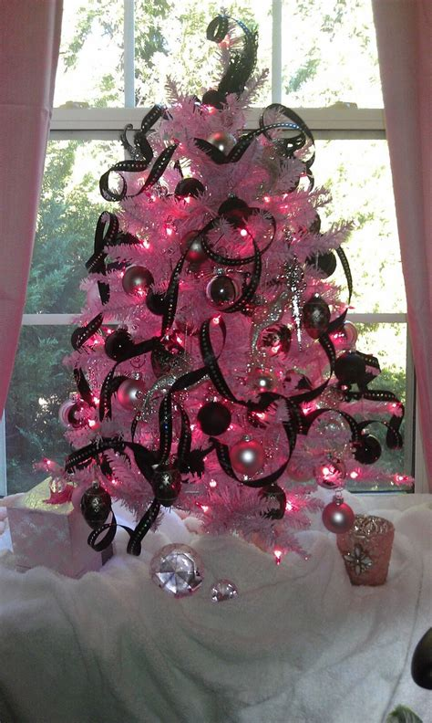 pink christmas tree pink lights  black  silver
