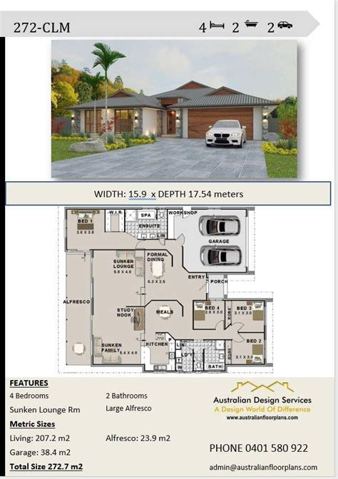 bedroom house plans double garage home