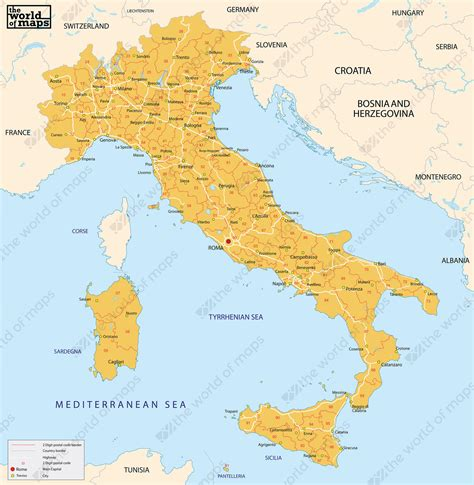 digital postcode map italy  digit   world  mapscom