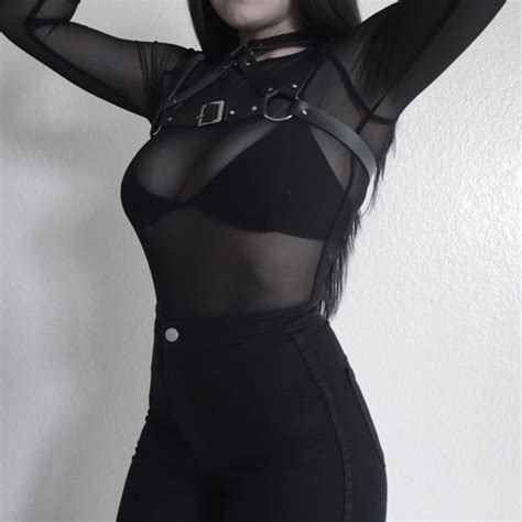 Shirt goth gothic hipster black see through bra belt hot sexy t-shirt sheer mesh ...