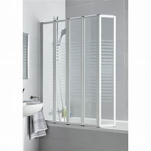 pare baignoire 5 volets pivotant pliant 140x112 cm verre With porte de douche coulissante avec peinture imperméabilisante salle de bain
