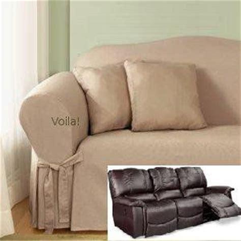 reclining sofa slipcover cotton taupe surefit recliner