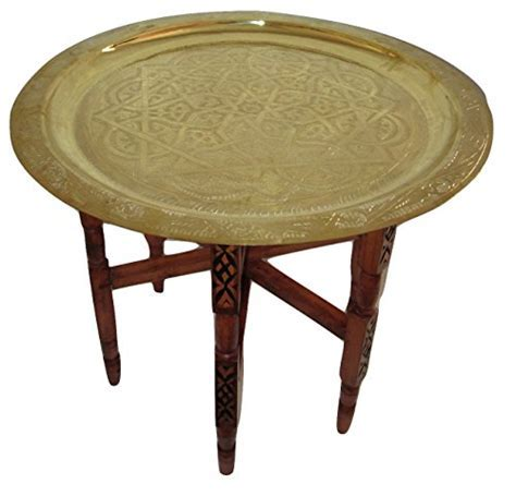 Moroccan Traditional Tea Table Engraved Brass Tray Top