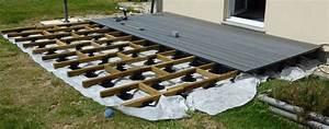pose terrasse bois sur plot beton castorama terrassefc d With pose d une terrasse en bois sur sol meuble
