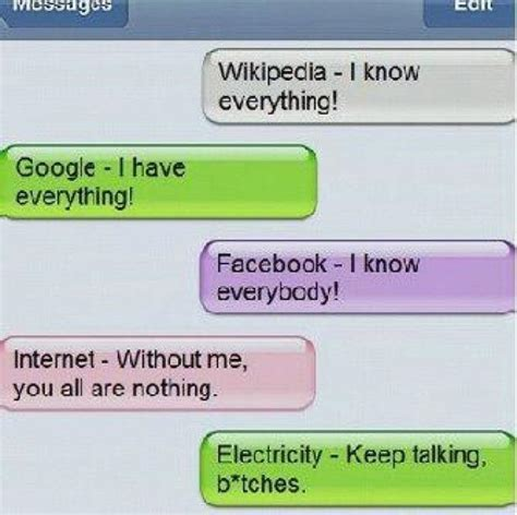 wikipedia google facebook internet electricity joke