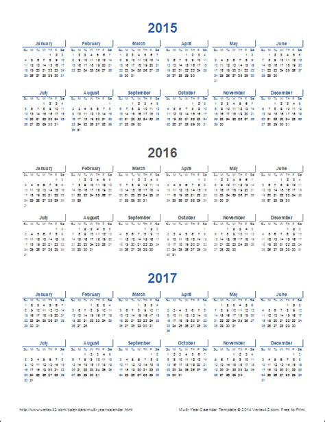 multi year calendars year calendar templates