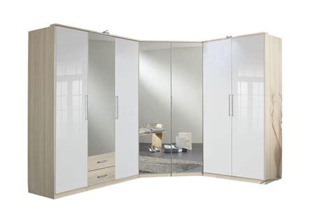 german  door white gloss mirror oak corner wardrobe