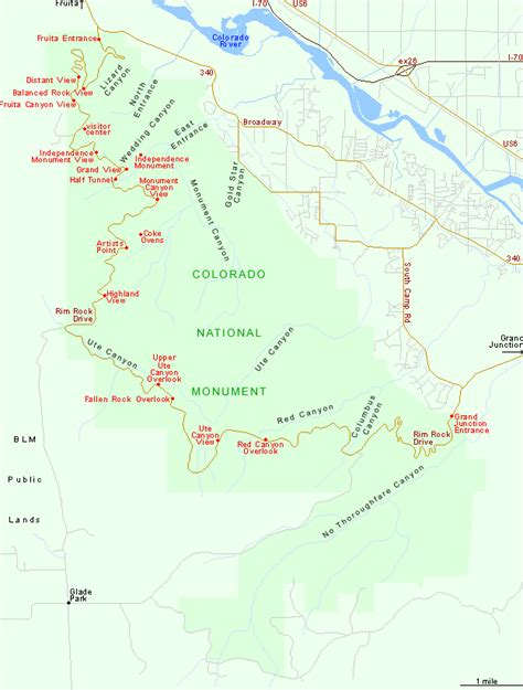Florissant Fossil Beds by Map Of Colorado National Monument Grand Junction Colorado
