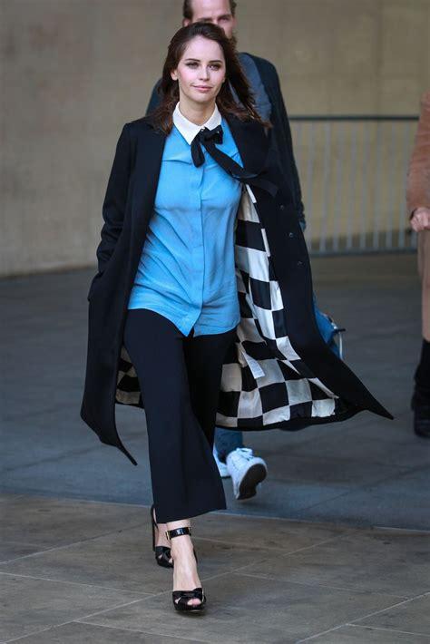 Felicity Jones Arrives at BBC Radio One in London, October ...