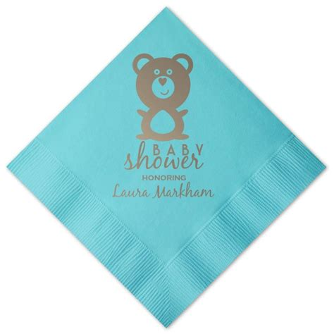 Teddy Bear Personalized Baby Shower Cocktail Napkins