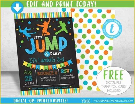 Free Bounce Party Invitation Template Of 14 Boy Birthday