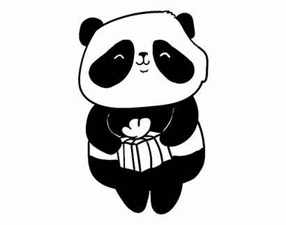 Panda Coloring Para Colorear Present Dibujo Pandas