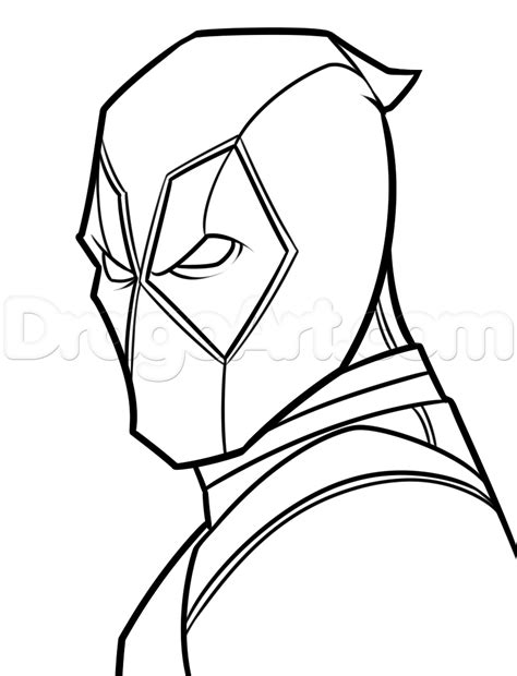 coloring deadpool simple drawing easy step by marvel