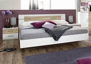 Bettanlage Burano Bett In Wei U00df Und Sonoma Eiche 180x200 Cm