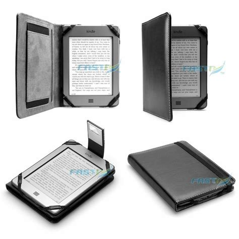 Kindle With Light by Premium Black Pu Leather Kindle Touch 4 Wifi Cover