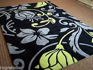 Lime Green And Black Rug by Damask Black Lime Green Modern Rugs 60x110cm Ebay