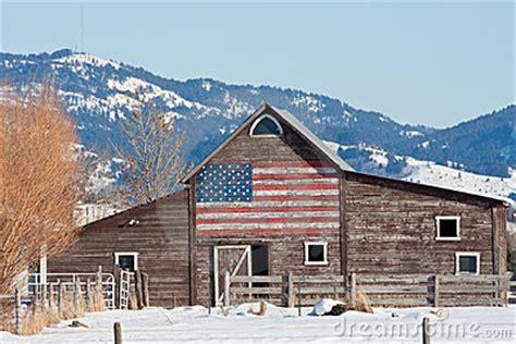 barn  american flag royalty  stock