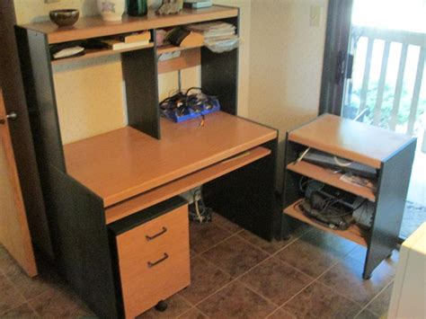 computer desk with hutch and printer shelf computer desk station hutch rollaway drawers and shelf