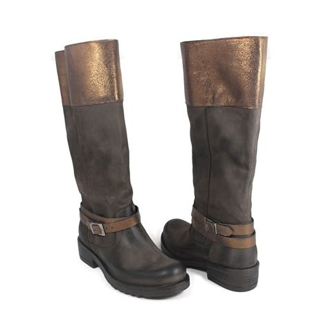 real leather biker boots biker boots in genuine leather brown with metallic bronze