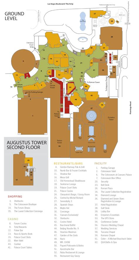 Caesars Palace Forum Shops Floor Plan by Caesars Palace Casino Floor Map