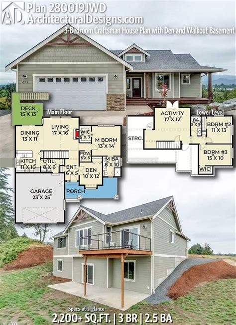 plan jwd  bedroom craftsman house plan  den  walkout basement craftsman house