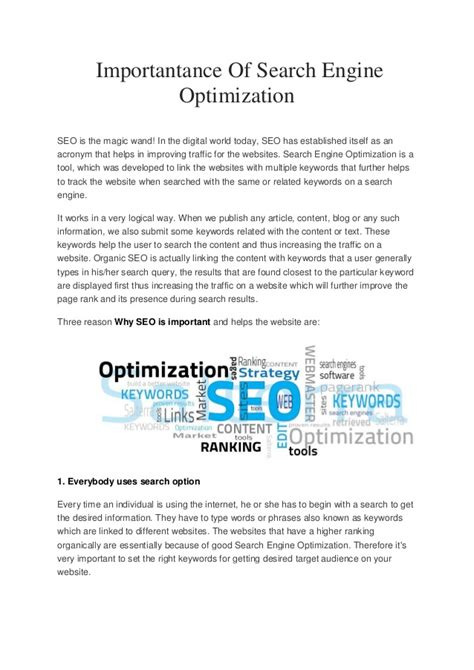 search engine optimization articles importantance of search engine optimization