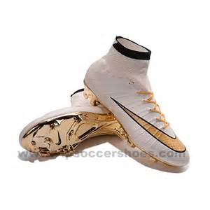 White and Gold Nike Soccer Cleats CR7