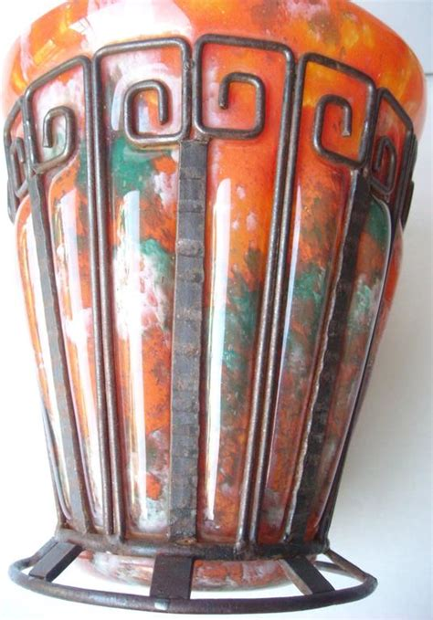 deco glass iron vase by daum nancy and l majorelle at 1stdibs