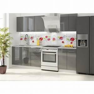 Cuisine Complète Pas Cher : vancouver cuisine compl te 180 cm laqu e gris achat ~ Melissatoandfro.com Idées de Décoration