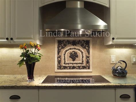 kitchen backsplash metal medallions grapes mosaic tile medallion kitchen backsplash mural