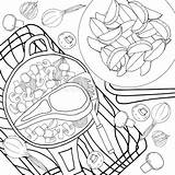 Meat Coloring Antistress Mushrooms Colorless sketch template