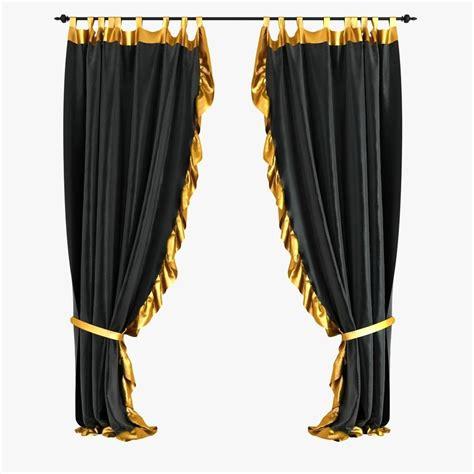 black velvet curtains 3d model max obj 3ds fbx mtl