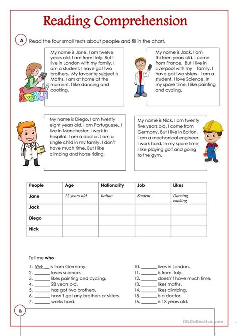 reading comprehension english esl worksheets