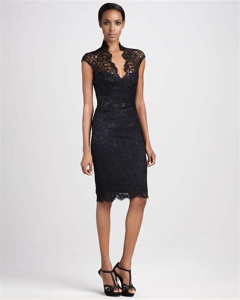 theia lace cocktail dress  black lyst