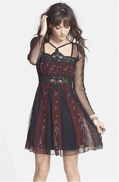 Mesh Wantering Dresses Flare Tough Embroidered Salvo